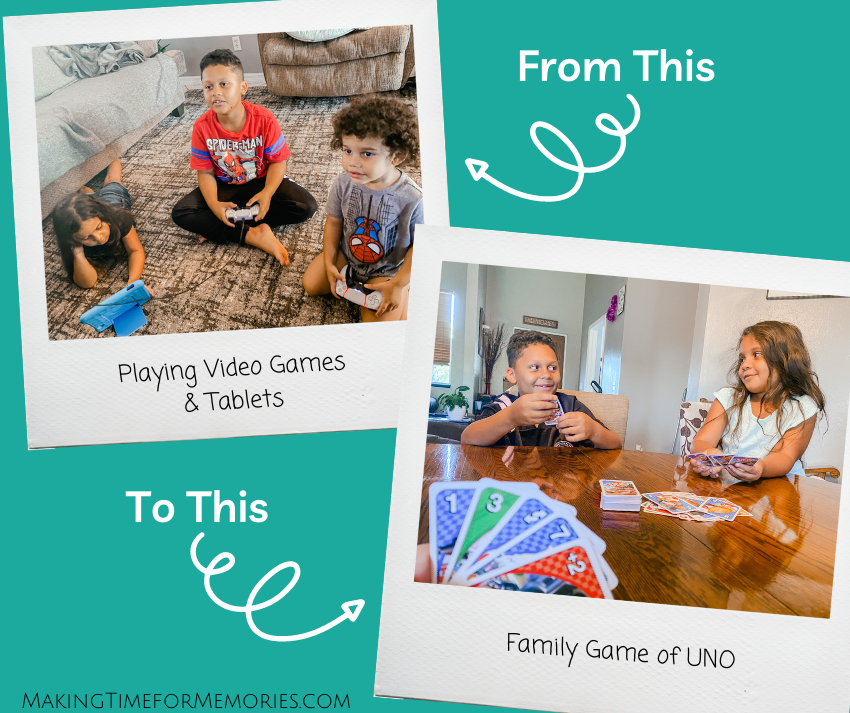photos of kids going from playing video games to playing a family game of UNO