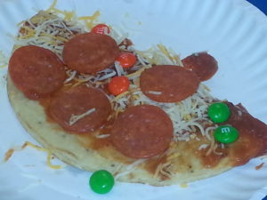 Closeup of finished pizza