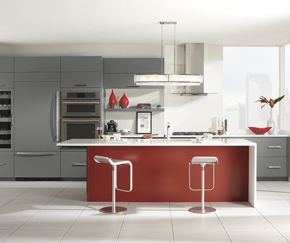 gray_cabinets_red_kitchen_island