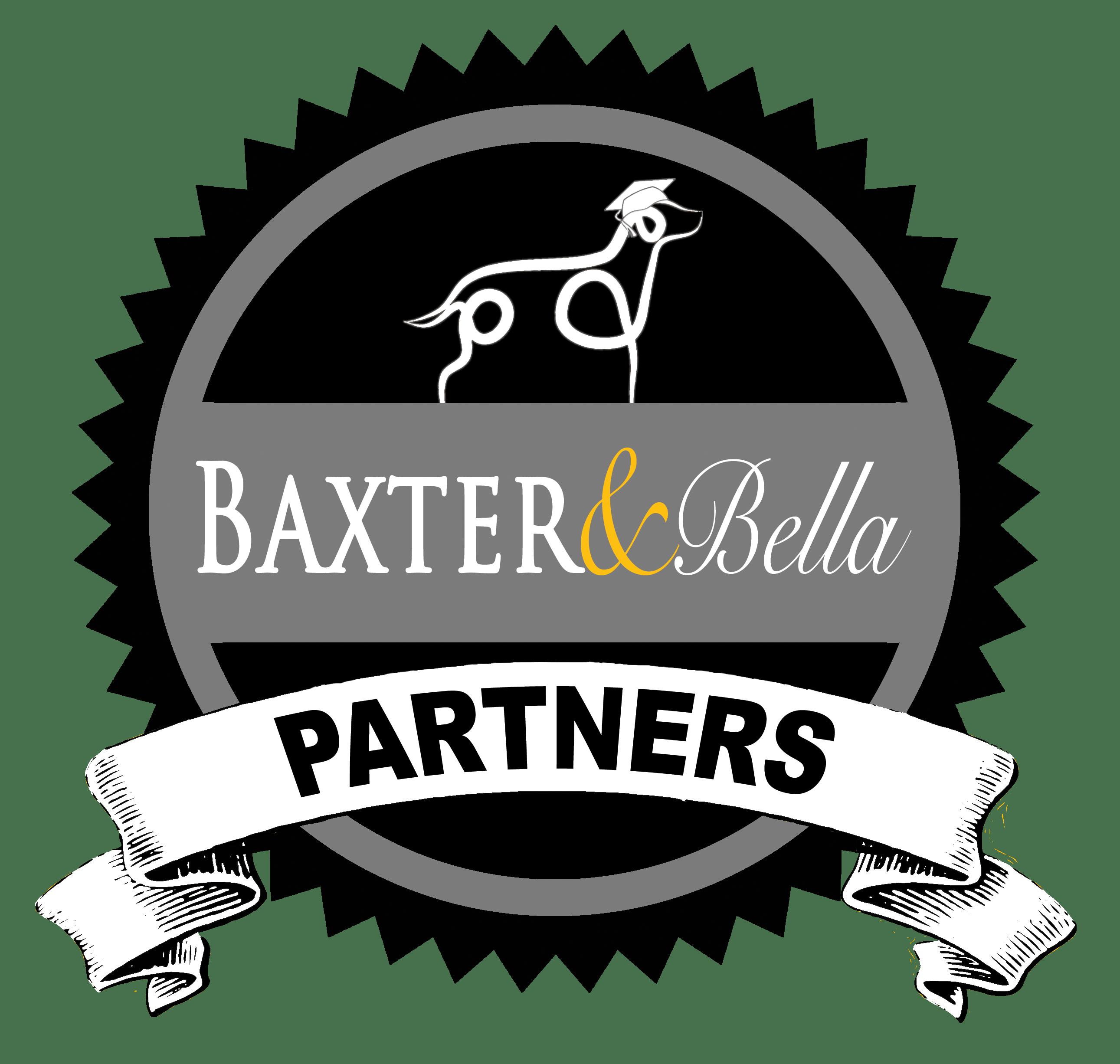 Drawing of dog over BAXTER & Bella logo