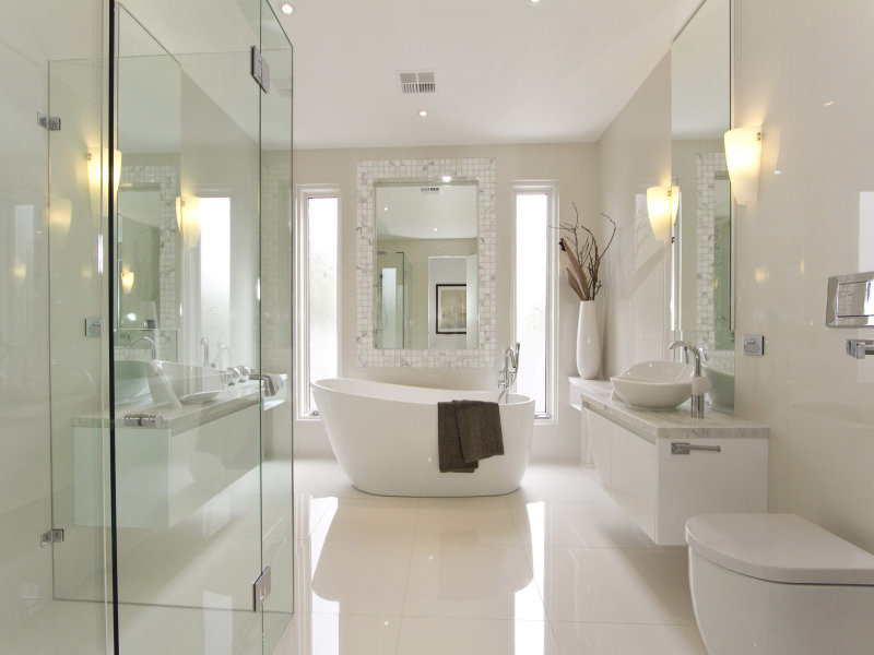 Modern bathroom design with freestanding bath