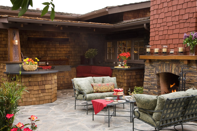 Craftsman outdoor kitchen and fireplace