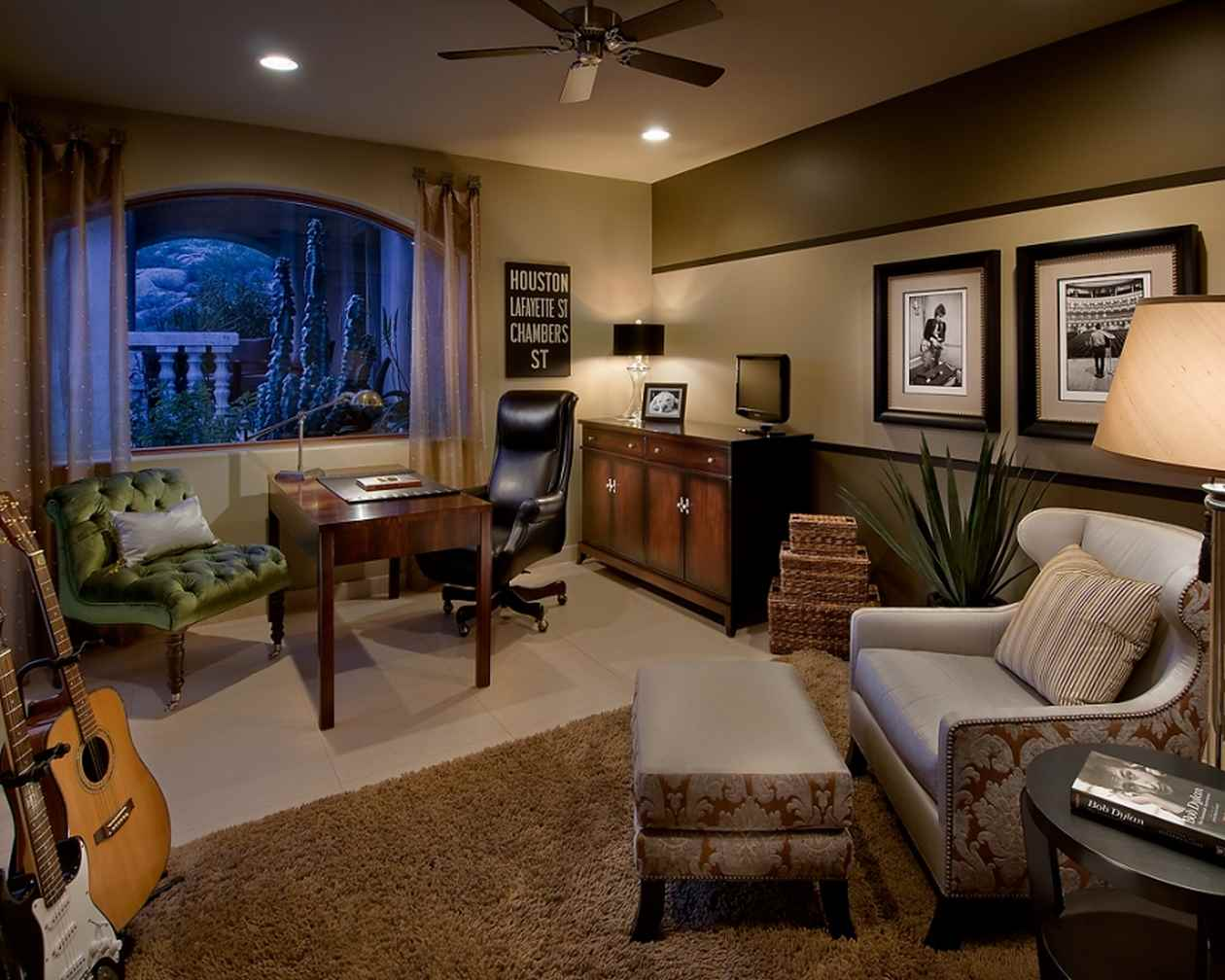 Elegant-traditional-home-office-design-ideas-with-comfortable-sofa-and-green-chairs