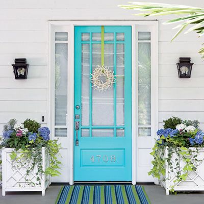 Coastal Living - Bright Turquoise Painted Front Door