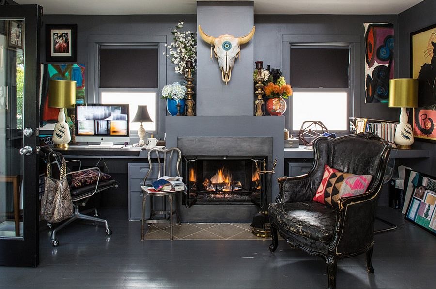 Dark-and-eclectic-home-office-is-a-bold-choice