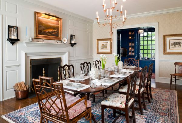 Farmhouse-style-dining-room-with-traditional-fireplace