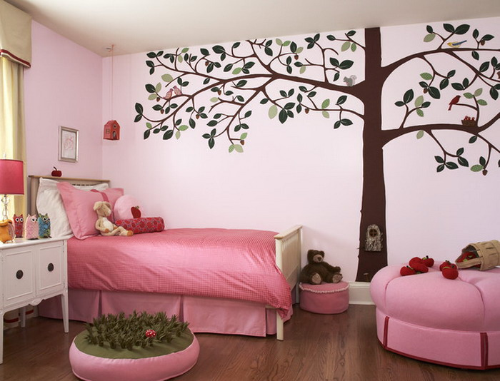 Girls-Bedroom-Ideas-with-Tree-Wall-Mural-Decor