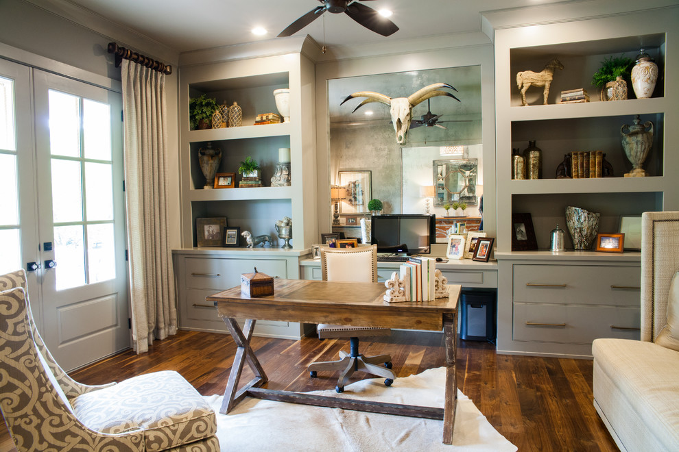 Inspired-Acacia-Wood-vogue-Atlanta-Farmhouse-Home-Office-Inspiration-with-animal-hide-rug-antique-mirror-antique-mirror-backsplash-antique-mirror-tile-beige-banquette-beige