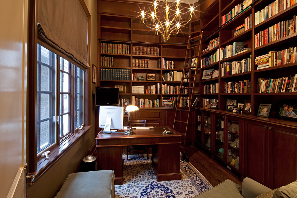 Winsome-Library-Ladder-home-renovations-Traditional-Home-Office-Toronto