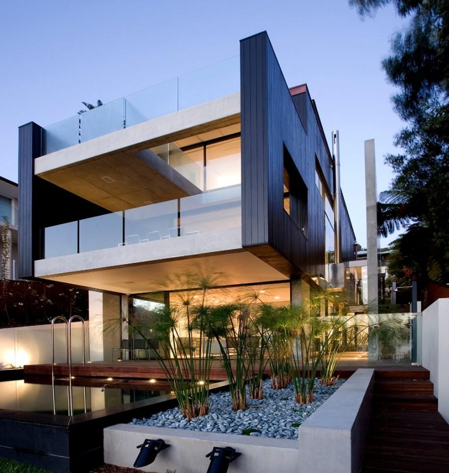 black-white-wall-and-green-plants-stunning-modern-beach-house-design-ideas