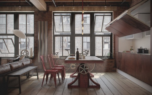 breathtaking-creative-industrial-dining-room-ideas-also-red-chair-plus-urban-pendant-lamp-design-also-white-standing-lamp-and-bicycle