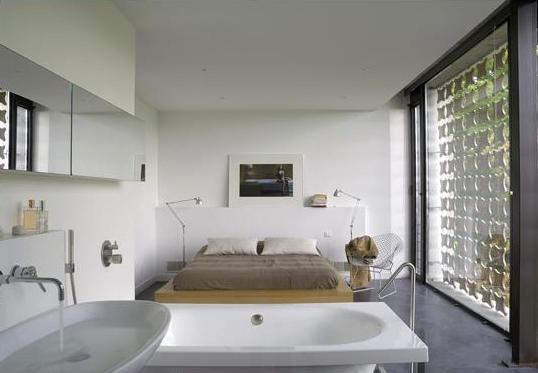 simple-open modern-bedroom-bathroom-interior-design-ideas