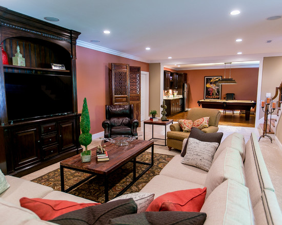 transitional-basement-entertainment room