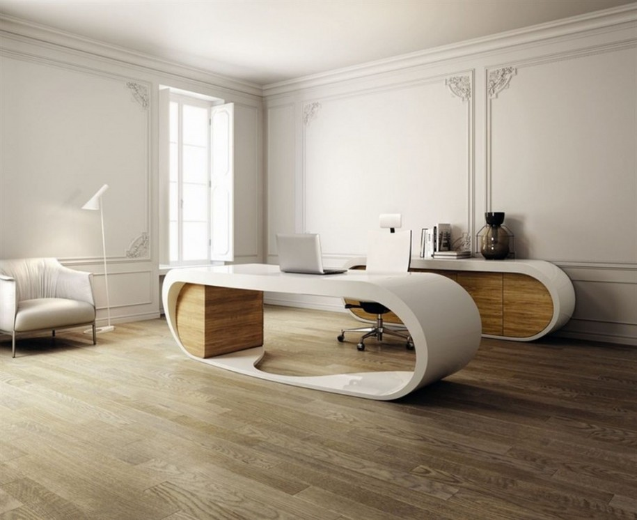 Beautiful-House-Floor-Plans-With-unique-white-home-office-desk-and-chair-and-wooden-flooring-desi