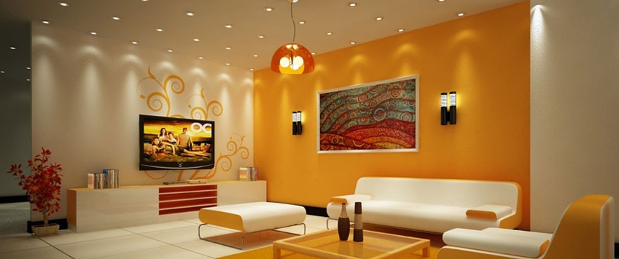 Beautiful-Yellow-Living-Room-with-Modern-Ceiling-Light