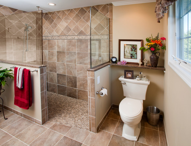 Traditional-Doorless-Walk-In-Shower-Designs