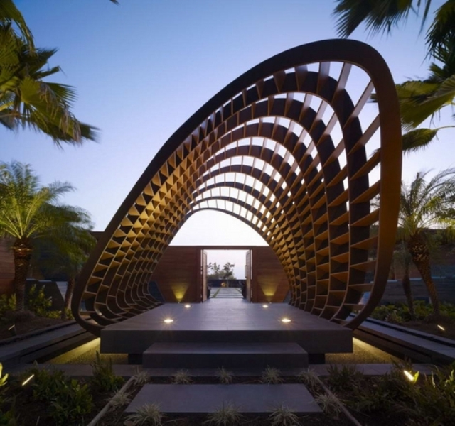 modern-garden-pergola-design-ideas-wood-construction-lit-concrete-floor