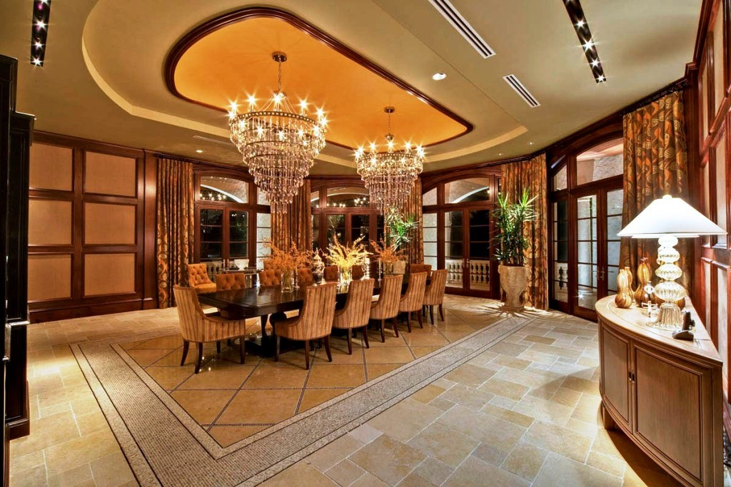 Cool-House-Plans-Ideas-With-luxury-dining-table-and-chair-and-luxury-chandelier-design
