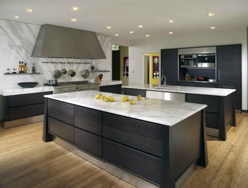 Modern-Black-Kitchen-Island-With-White-Marble-