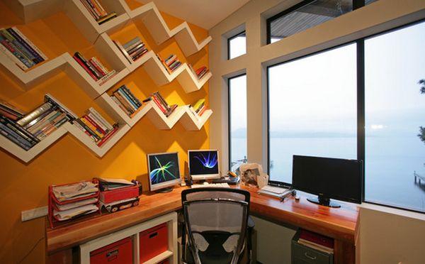 bookshelf above the desk