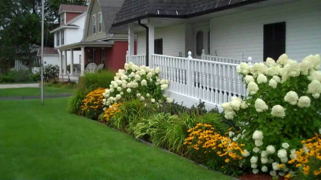 modern-landscaping-with-hydrangeas-with-color-ideas-for-modern-exterior