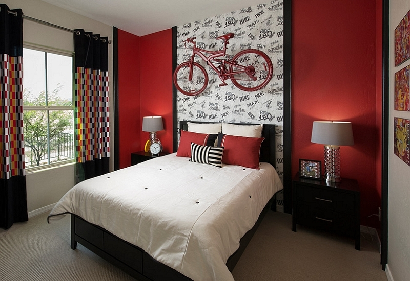 Ingenious-bedroom-in-black-and-red-with-a-wall-mounted-bike