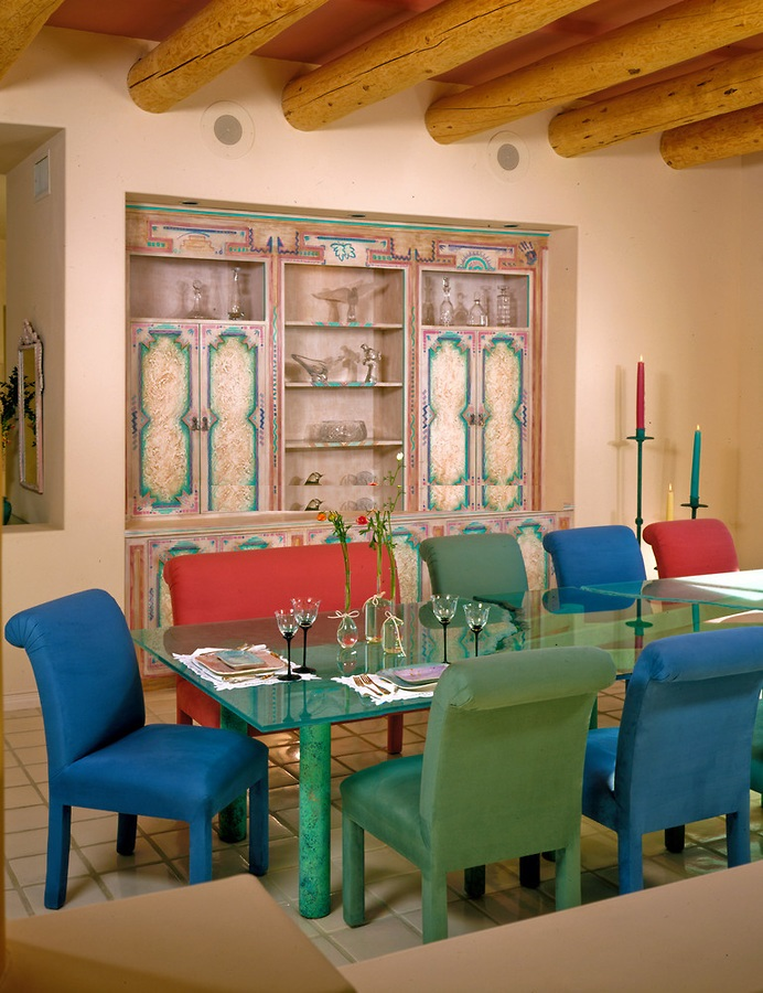 lovely-sante-fe-colorful-dining-room-inspiration-wood-ceiling-beams