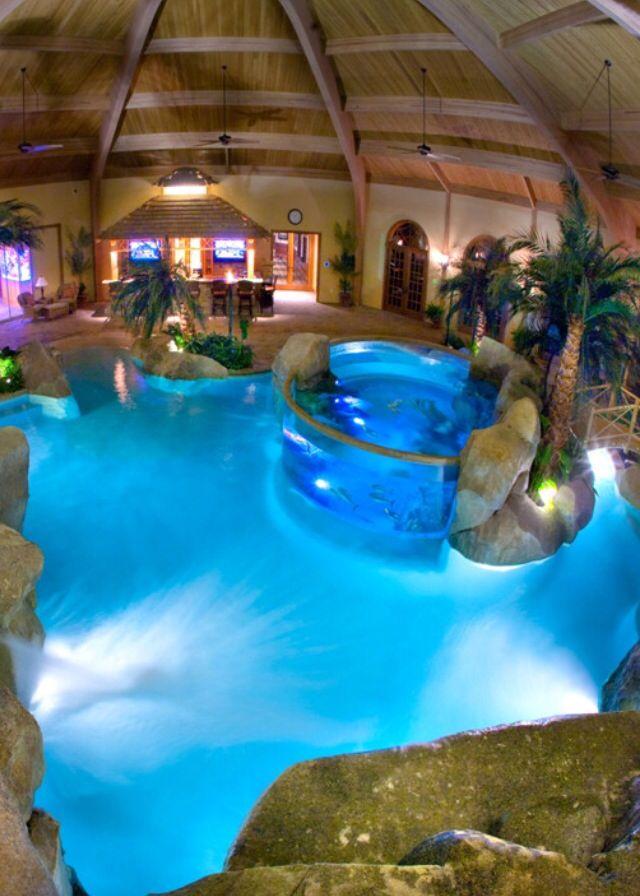 Backyard swimming pool inside lighting