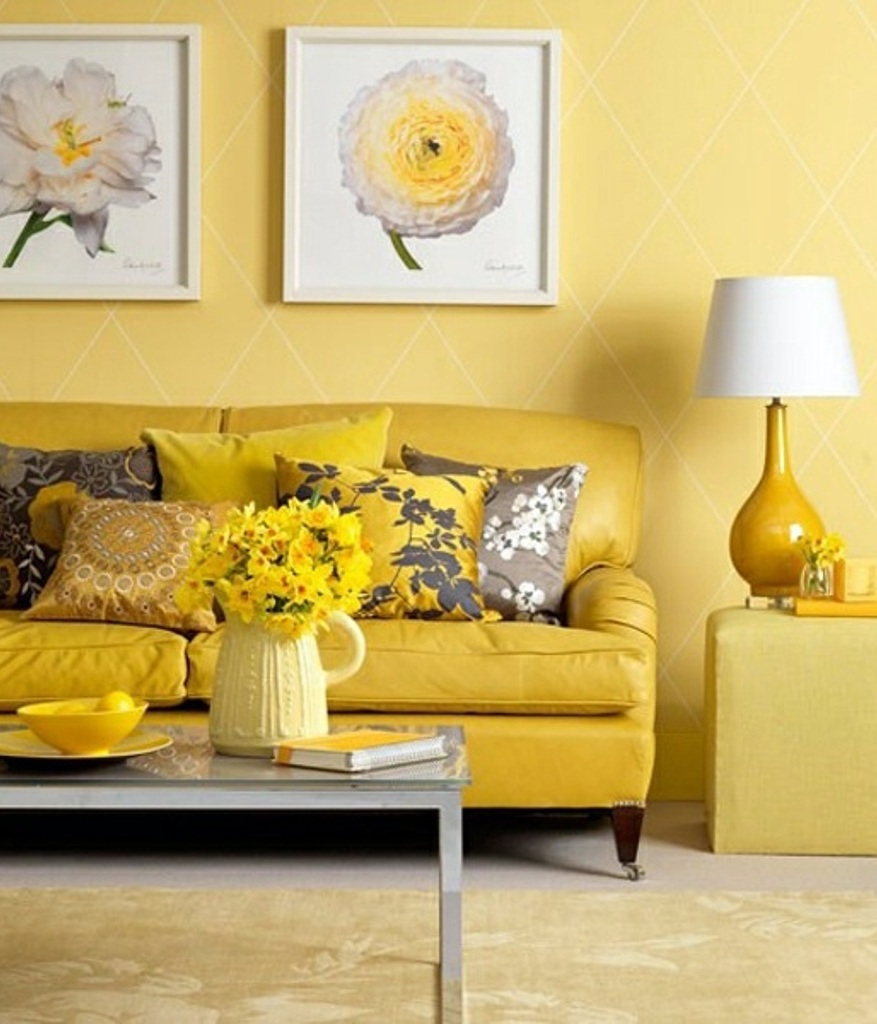 Living Room, Floral Painting Design With Pale Yellow Wall Color