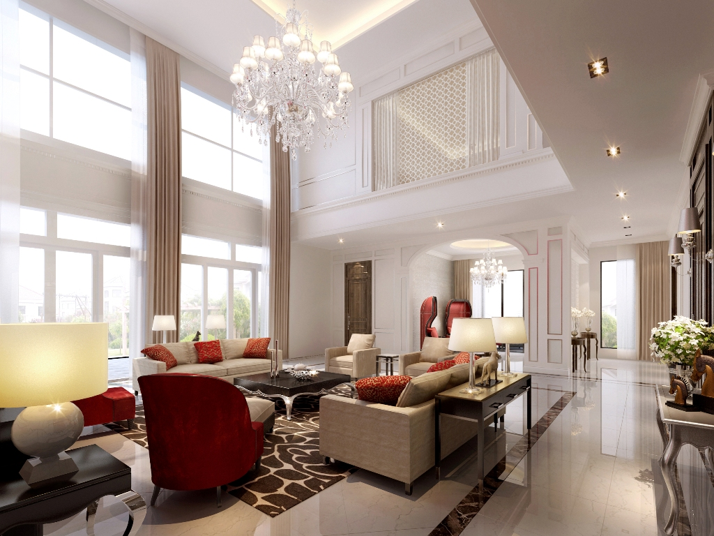 Luxury Bright White Living Room Design