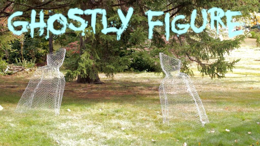 DIY Halloween Chicken Wire Ghost Figure Yard Decoration