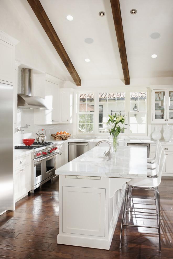 All White Mediterranean Kitchen Design