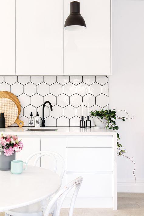 All White Small Kitchen Design