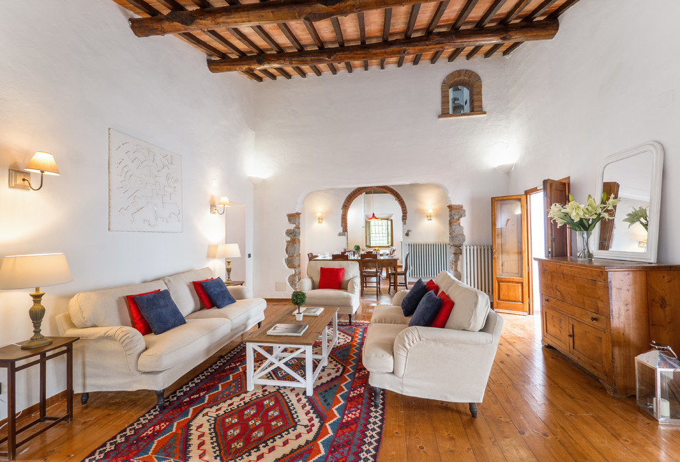 Mediterranean Open Concept Living Room Rug