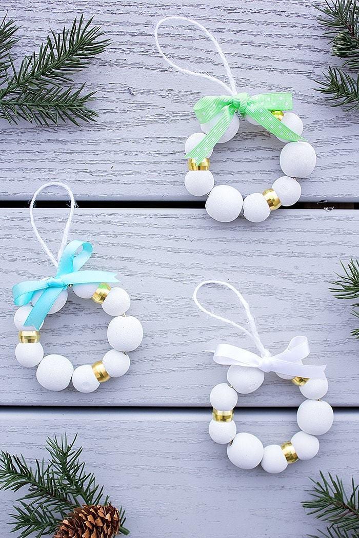 DIY Wood Bead Christmas Ornaments