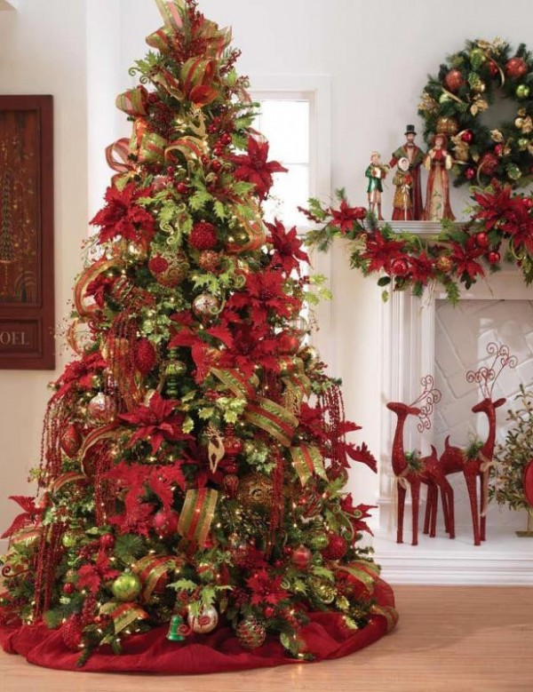Red Decorated Christmas Tree