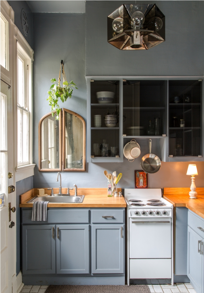 Bright And Cheerful Muted Blue Color Kitchen