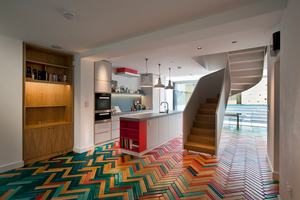 Eclectic Galley Open Concept Kitchen