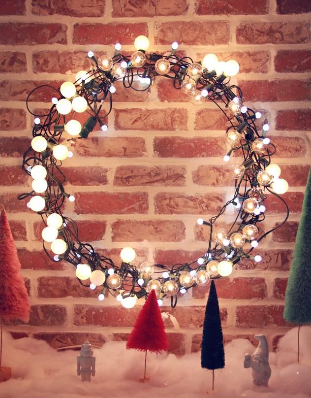 Diy Light String Christmas Wreath