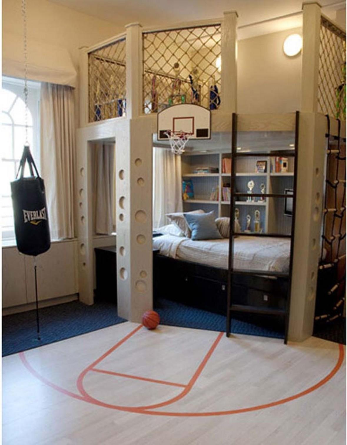 White Sport Themed Boys Bedroom