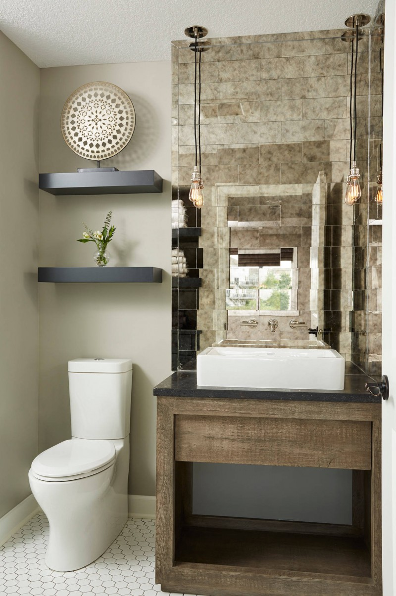glass-mirror-tiles-vessel-sink-wood-vanity-ceiling-lights-black-floating-shelves-closet