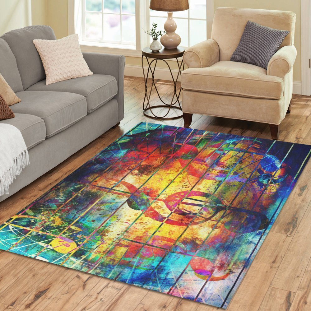 Abstract Colorful Music Note Rug Thewowdecor