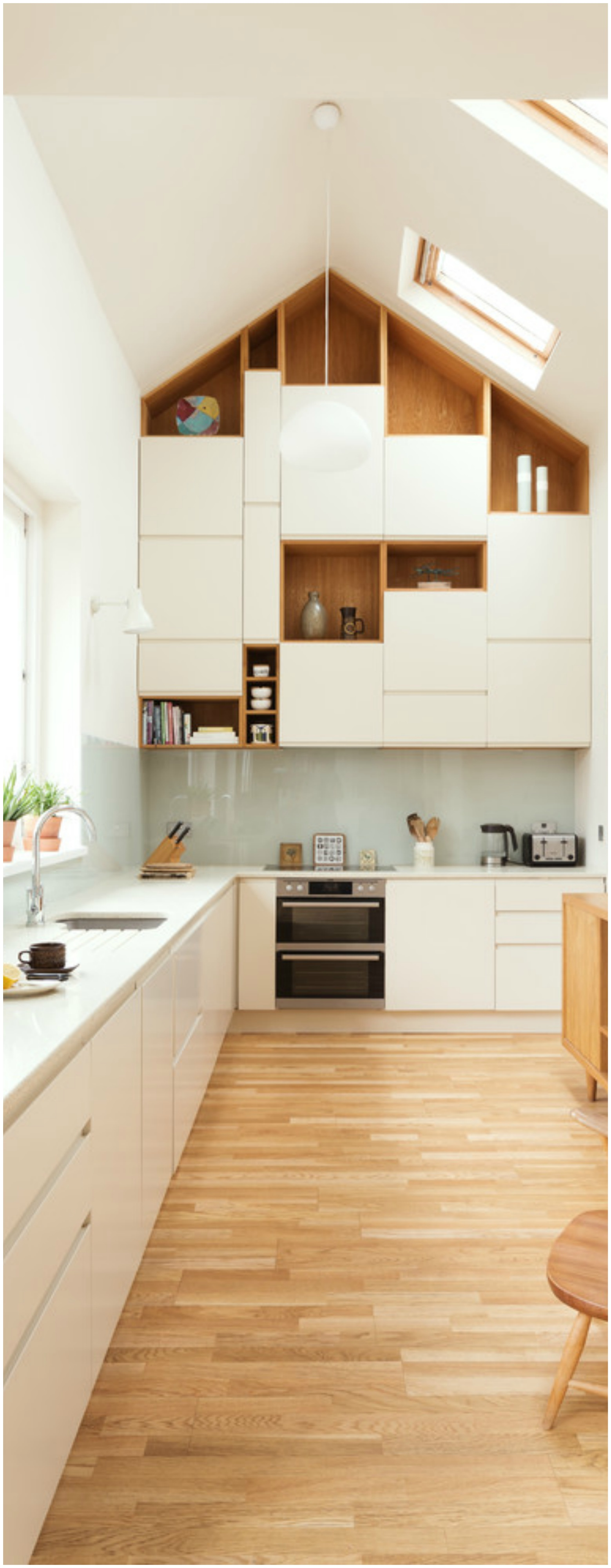 Attic Kitchen With Unique Cabinets Till Ceiling Thewowdecor