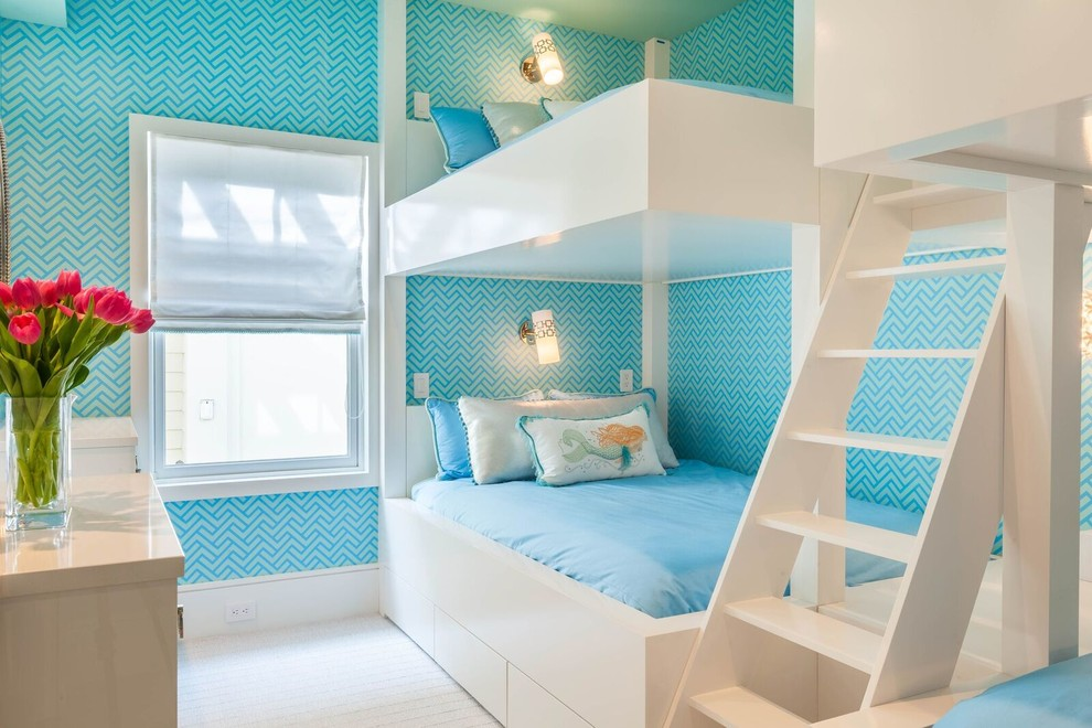 Beach Style GIrls Bedroom Four Bunk Beds Thewowdecor
