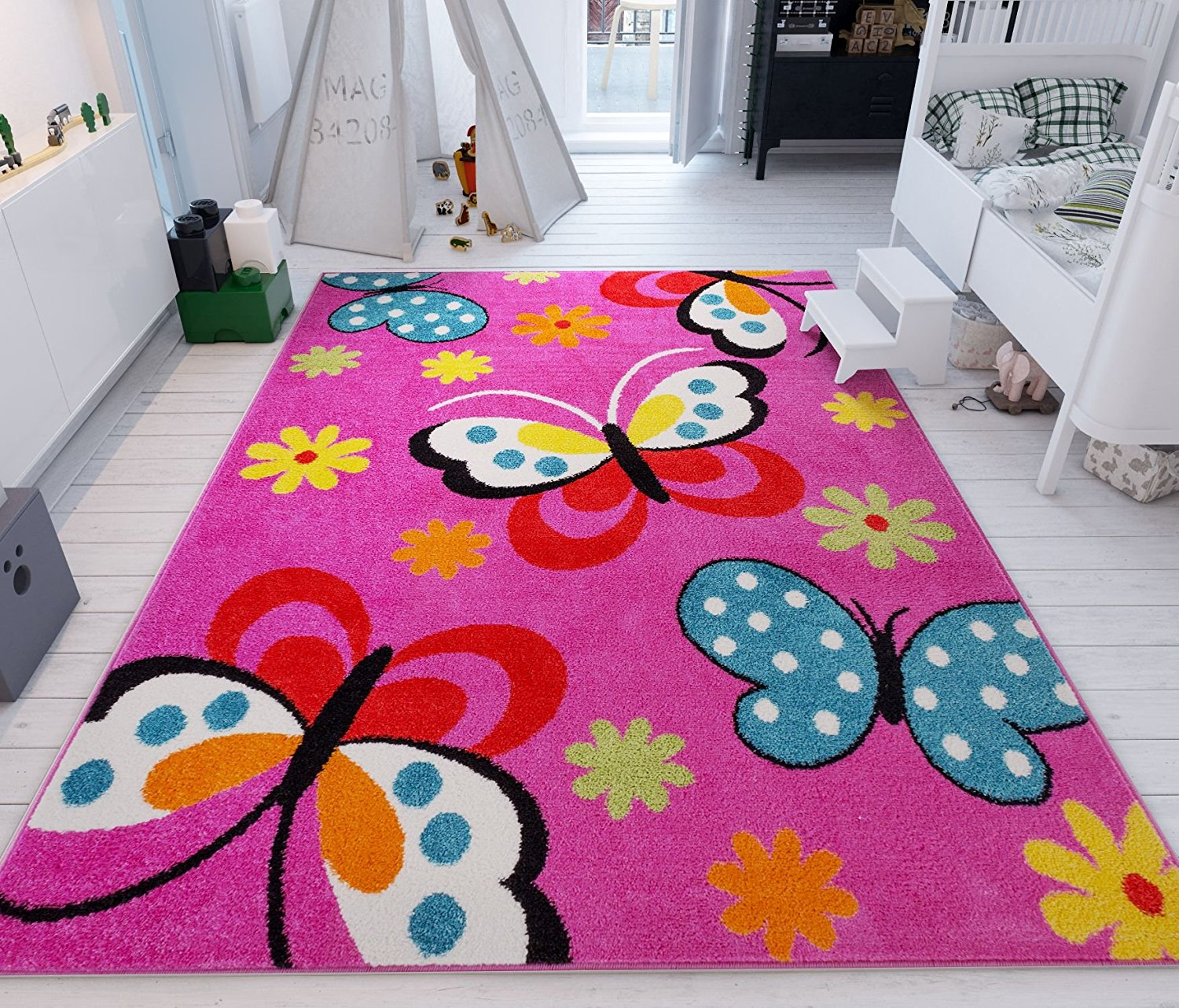 Daisy Butterflies Pink Accent Rug Thewowdecor
