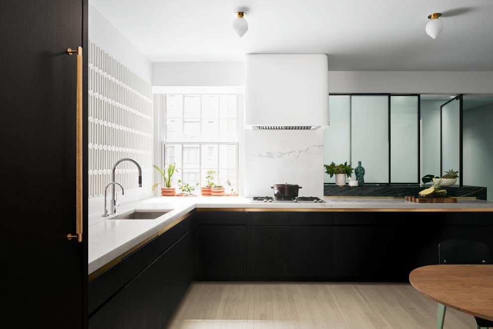 Ebonized White Oak Cabinetry With Brass Accents Thewowdecor