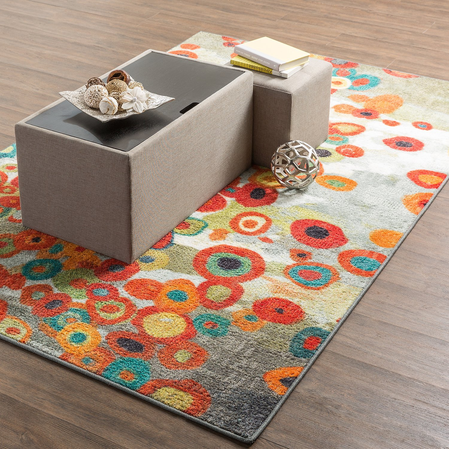 Multicolored Floral Abstract Printed Rug Thewowdecor
