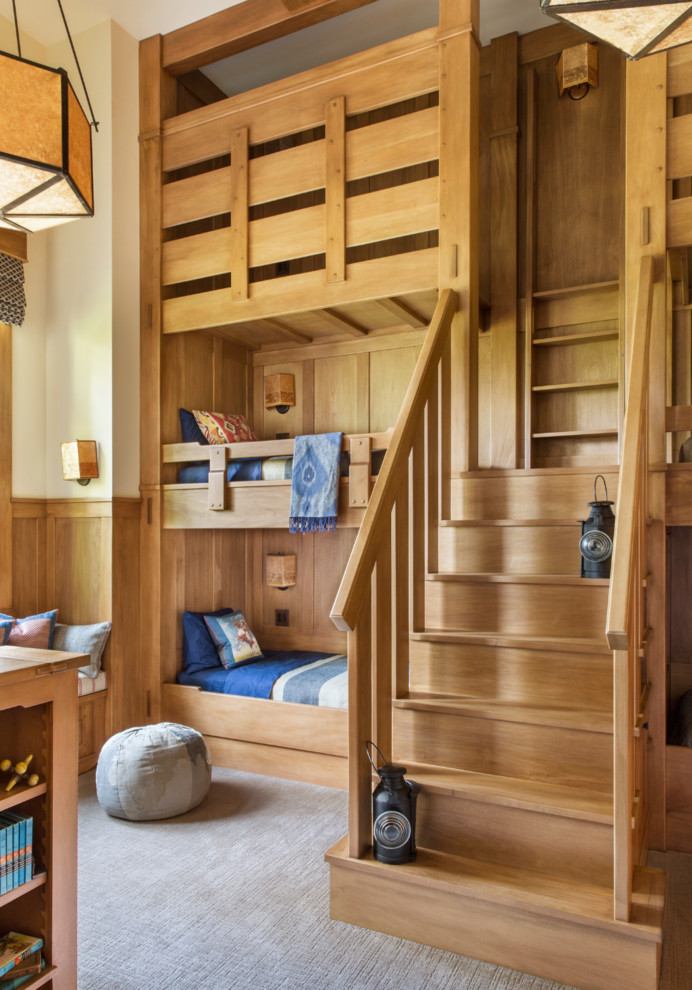 Rustic Bedroom WIth Cabin And Two Bunk Beds Thewowdecor