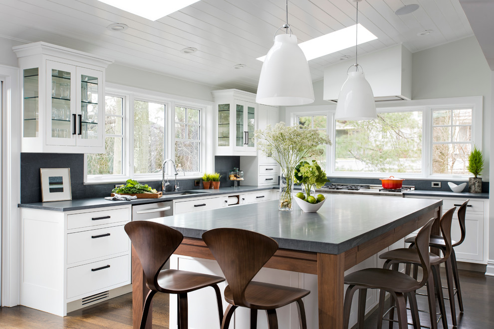 Transitional Style Kitchen With Limestone Countertops