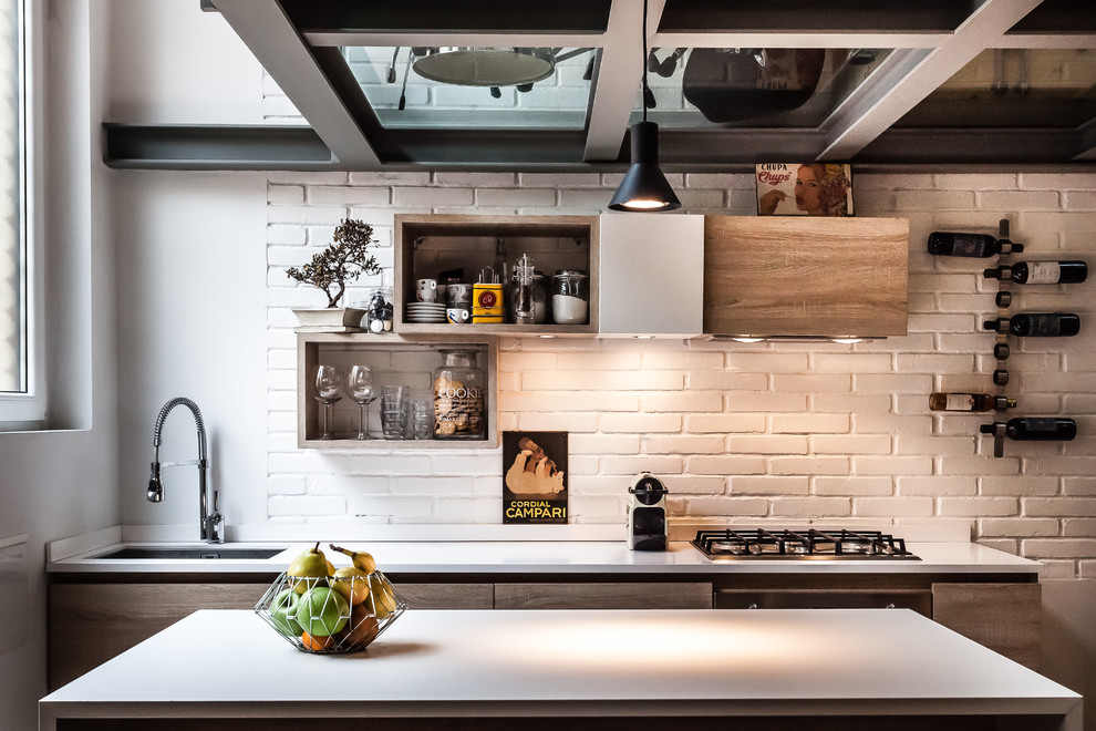 industrial-kitchen-with mirror ceiling